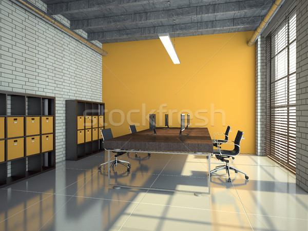 Stockfoto: Vliering · kantoor · interieur · 3D · moderne