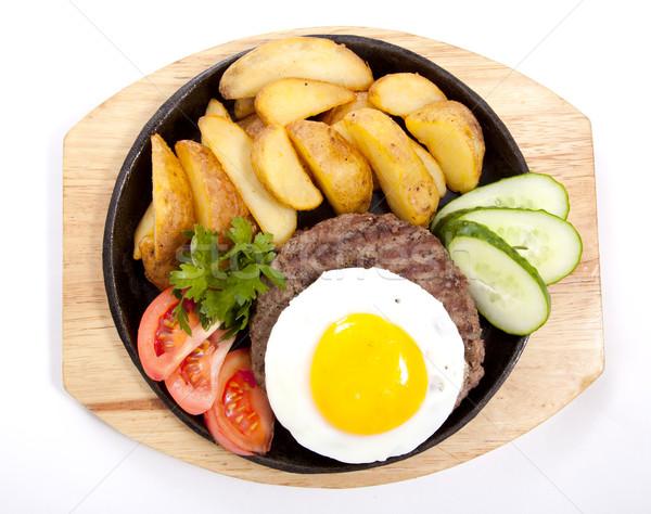 Steak krumpli tojás fotó krumpli serpenyő Stock fotó © maknt