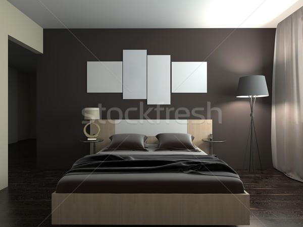 現代 インテリア ベッド 3D レンダリング ルーム ストックフォト © maknt