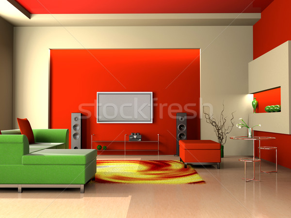 Stockfoto: Woonkamer · moderne · interieur · 3D · huis · licht