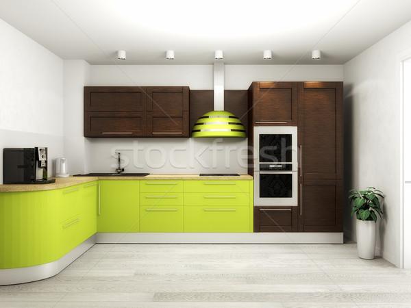 Interior of modern kitchen 3D rendering Stock photo © maknt