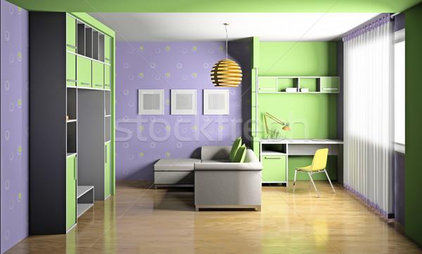 Kamer 3D moderne interieur huis kind Stockfoto © maknt