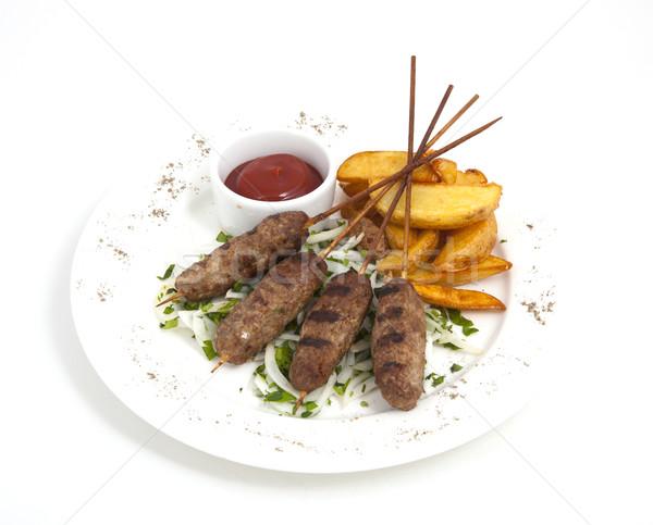 Vlees foto plaat voedsel peper Stockfoto © maknt
