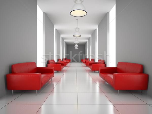 抽象的な ホール 赤 ソファ 壁 3D ストックフォト © maknt