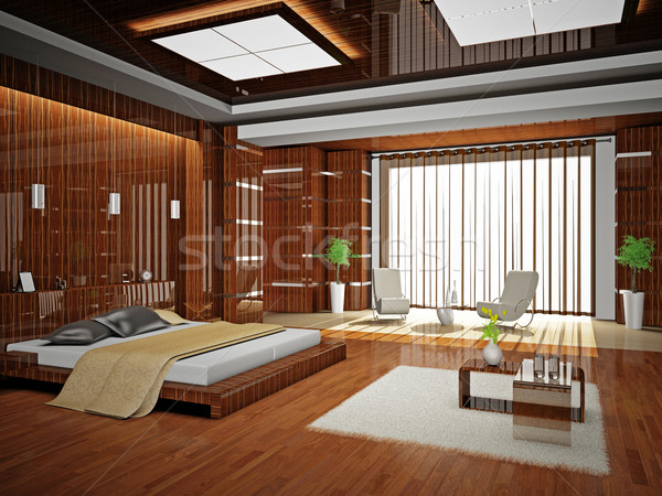 Camera da letto moderno interni stanza 3D luce Foto d'archivio © maknt