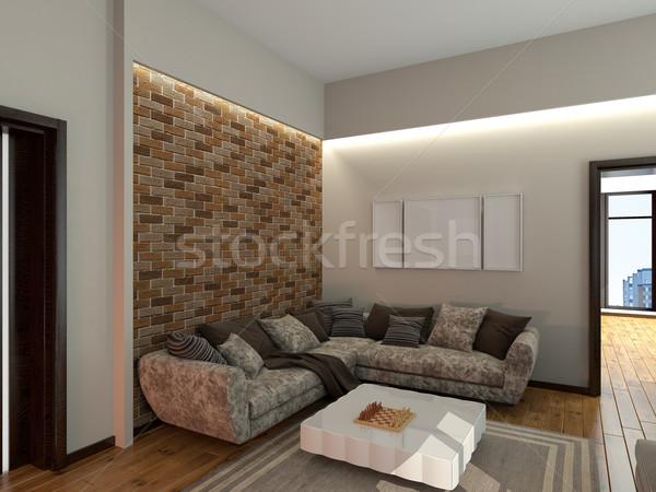 диван комнату 3D изображение диване Сток-фото © maknt