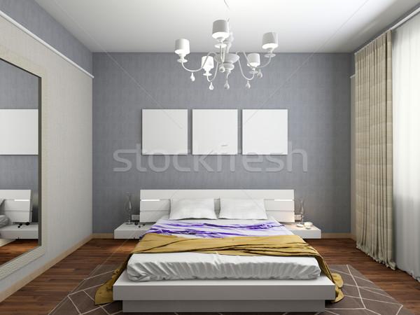 Stok fotoğraf: Modern · iç · yatak · odası · 3D · oda