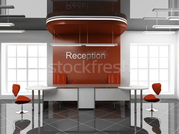 Recepció iroda modern 3D ablak szoba Stock fotó © maknt