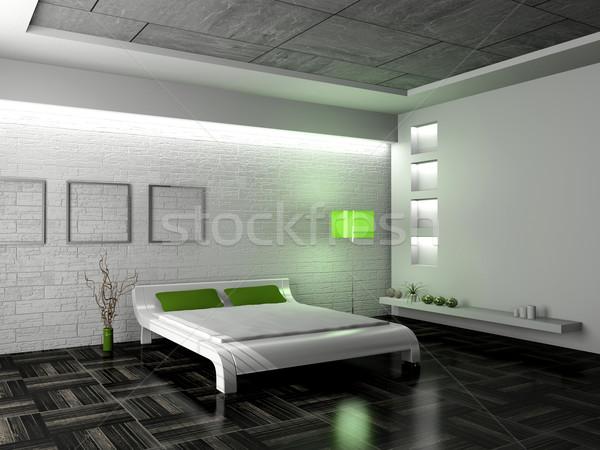 Chambre modernes intérieur chambre 3D lumière Photo stock © maknt