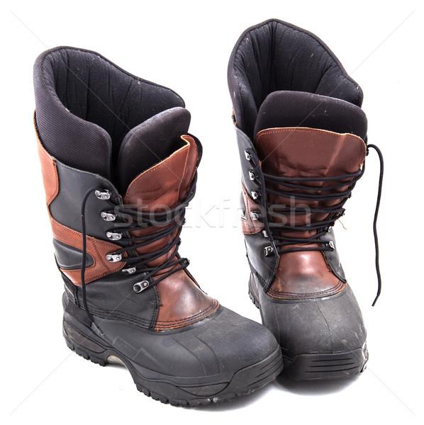 Laarzen actief foto witte reizen najaar Stockfoto © maknt