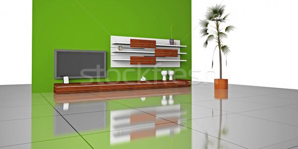 ストックフォト: リビングルーム · 3D · 現代 · インテリア · 家 · テレビ