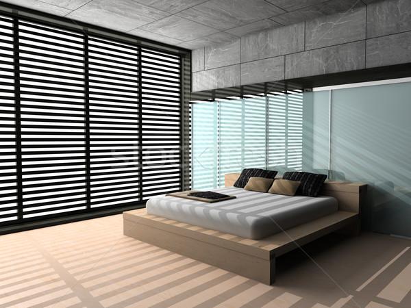 Quarto moderno interior quarto 3D parede Foto stock © maknt