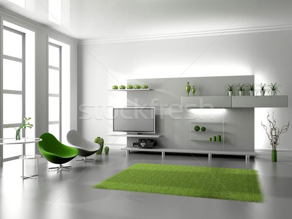 Salon modernes intérieur 3D maison maison Photo stock © maknt