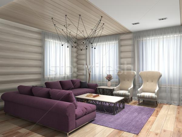 Salon 3D modernes intérieur maison Photo stock © maknt