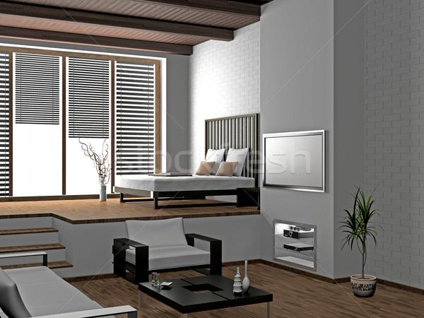 Nappali modern belső 3D ház fény Stock fotó © maknt
