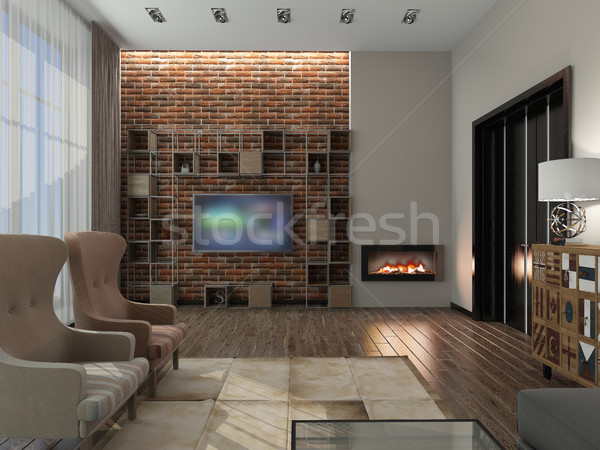 Woonkamer 3D moderne interieur huis Stockfoto © maknt