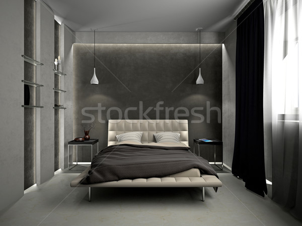ベッド 現代 インテリア ルーム 3D 光 ストックフォト © maknt