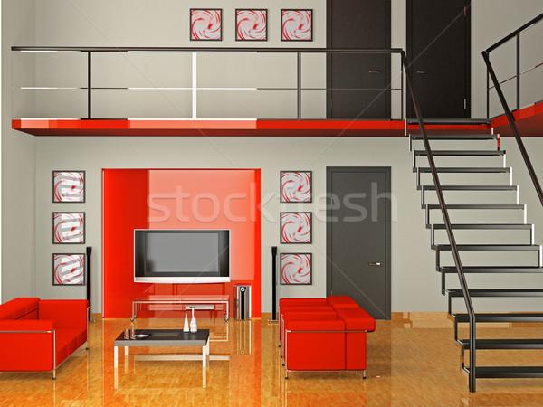 Nappali 3D modern belső ház televízió Stock fotó © maknt