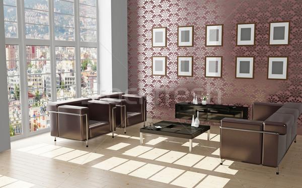 Photo stock: Salon · 3D · modernes · intérieur · maison · télévision
