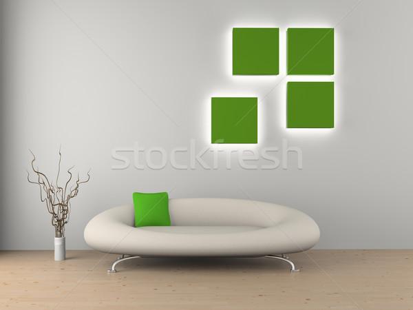 Canapé chambre modernes maison lumière design Photo stock © maknt