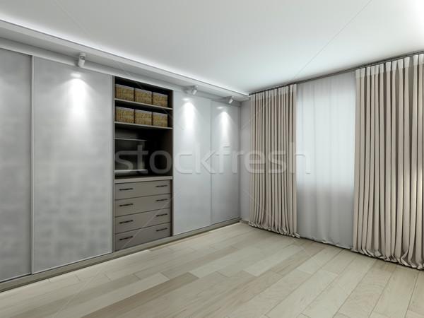 Garderobe moderne interieur 3D familie Stockfoto © maknt