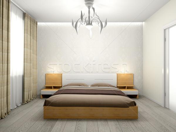 Modern belső hálószoba 3D renderelt kép szoba Stock fotó © maknt