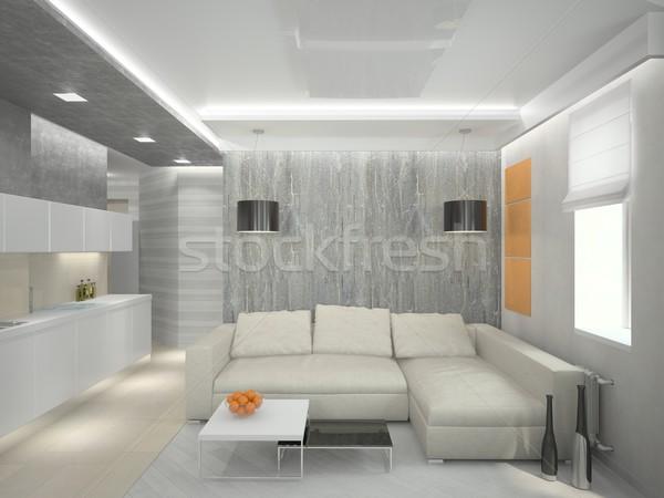 гостиной 3D современных интерьер дома телевидение Сток-фото © maknt