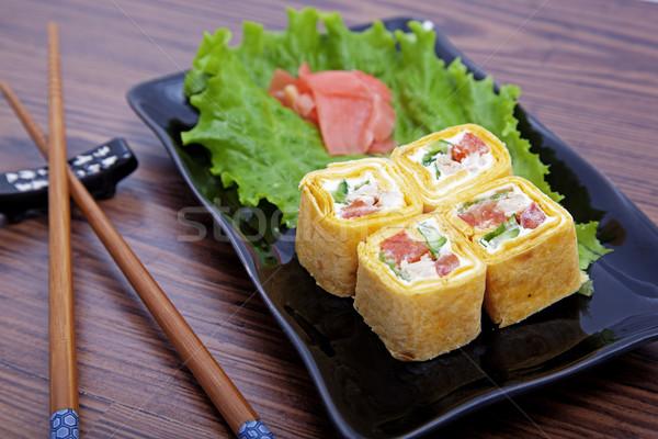 суши фото рыбы морем ресторан Сток-фото © maknt