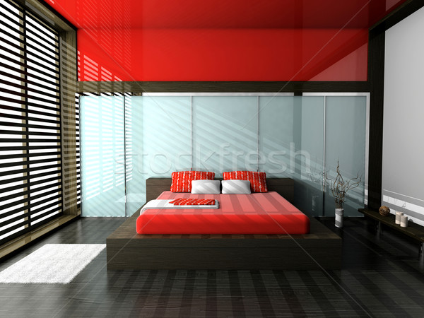 Slaapkamer moderne interieur kamer 3D muur Stockfoto © maknt