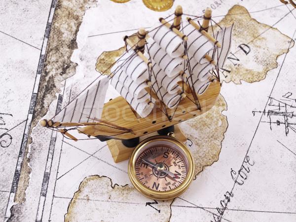 コンパス 写真 銅 海 旅行 レトロな ストックフォト © maknt