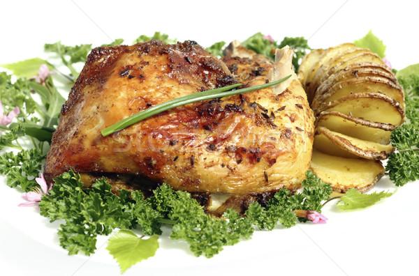 Frango assado batatas prato comida pássaro Foto stock © Makse