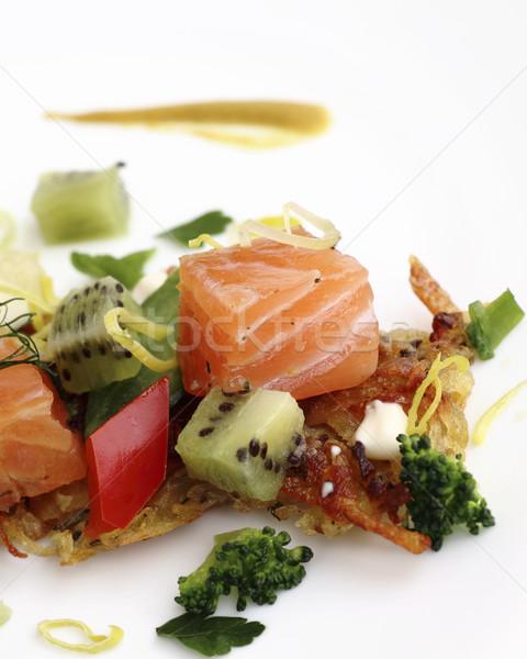Batata panquecas peixe verde Foto stock © Makse