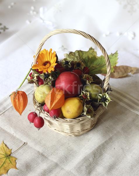 Basket with autumn goodies Stock photo © Makse