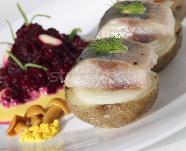 Appetizer with herring Stock photo © Makse