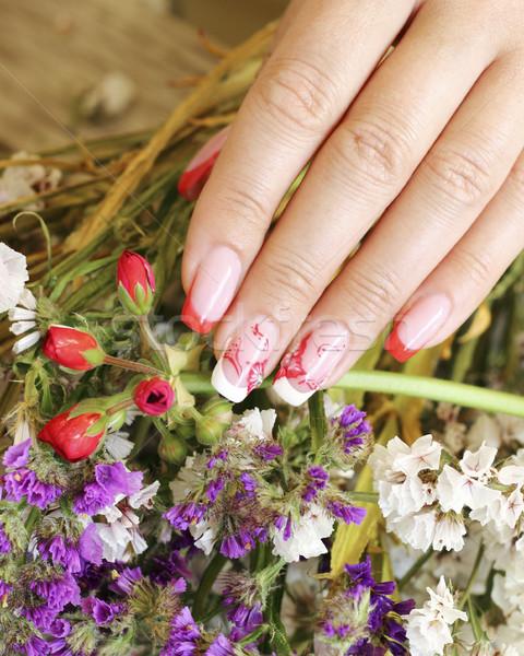 Körmök virágok virág nők természet festmény Stock fotó © Makse