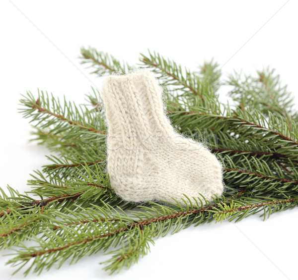 Baby knitted woolen sock Stock photo © Makse