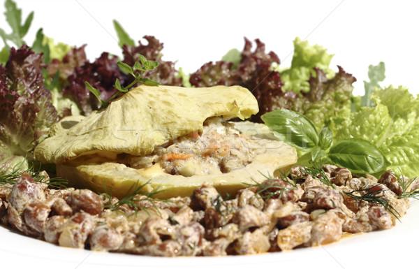 Gevuld vlees geserveerd groenten champignon saus Stockfoto © Makse