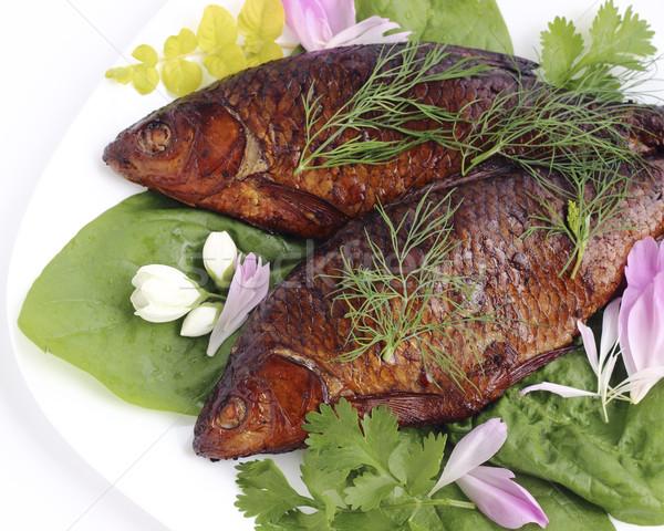 Zdjęcia stock: Wędzony · ryb · tablicy · żywności · kuchnia