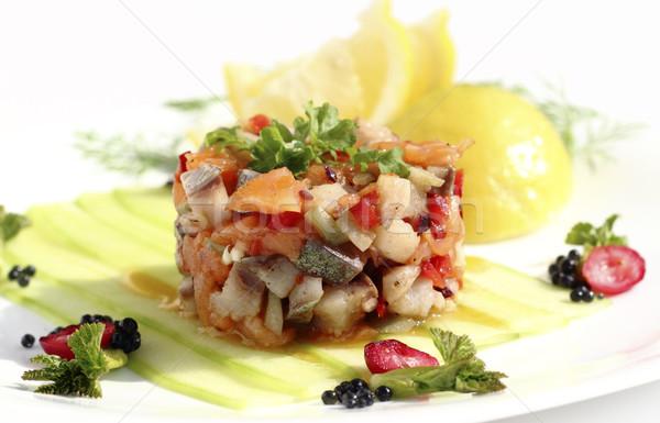 Салат овощей продовольствие рыбы обеда Сток-фото © Makse