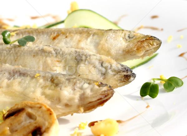 Taze hizmet salatalık şeritler gıda Stok fotoğraf © Makse