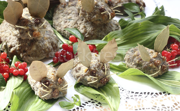 мыши семьи жареный свинина продовольствие фрукты Сток-фото © Makse