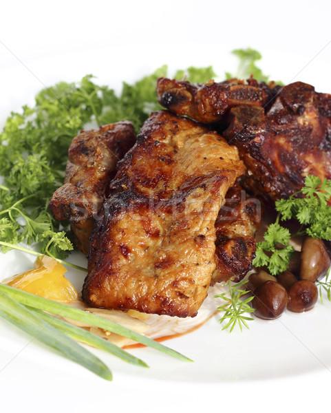 焼き 豚肉 リブ キノコ プレート ストックフォト © Makse