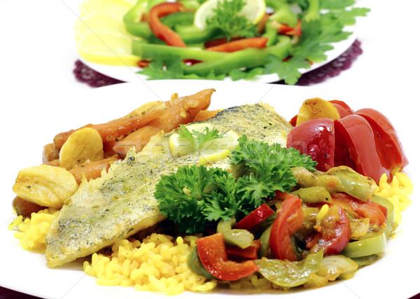 Fileto hizmet pirinç sebze balık Stok fotoğraf © Makse