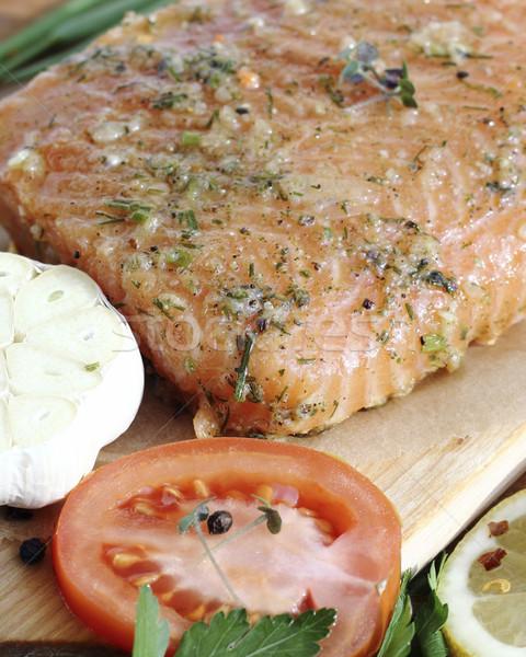 Salted salmon fillet Stock photo © Makse