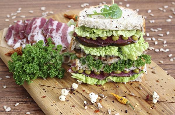 сэндвич большой овощей ветчиной хлеб семян Сток-фото © Makse