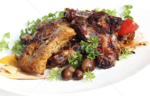 Domuz eti mantar akşam yemeği kırmızı Stok fotoğraf © Makse