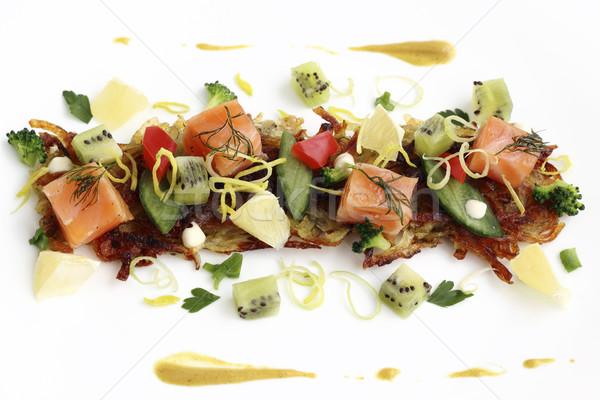 Potato pancakes with smoked salmon Stock photo © Makse
