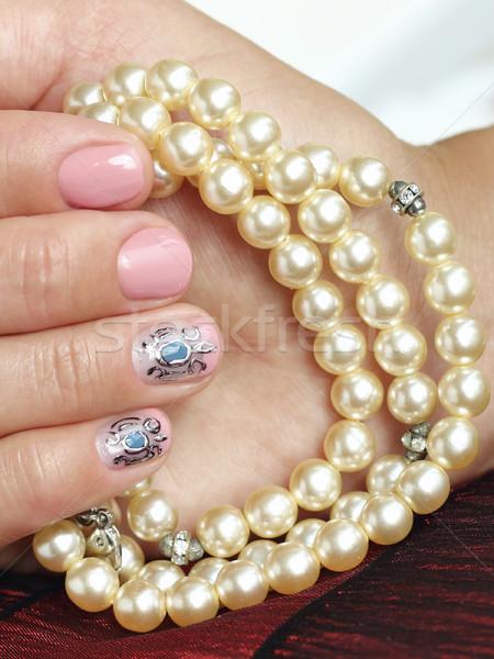 красивой ногти искусства женщины рук маникюр Сток-фото © Makse