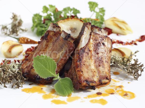 Grelhado carne de porco costelas servido frito Foto stock © Makse