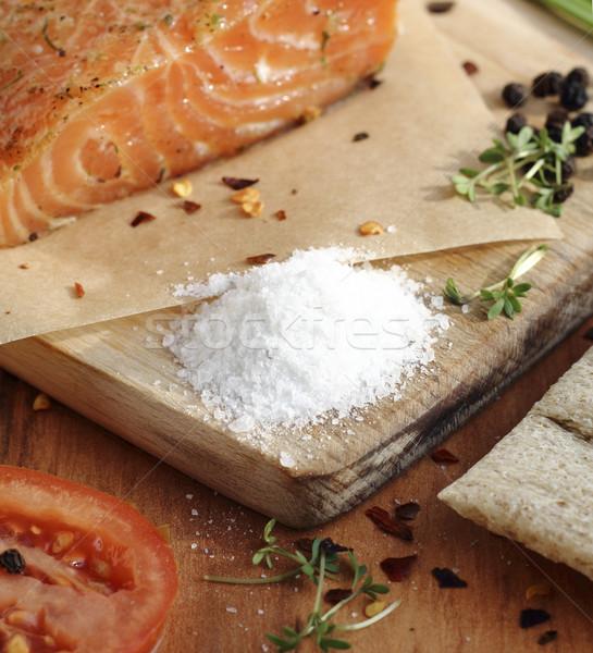 Tuz somon süreç kâğıt gıda Stok fotoğraf © Makse
